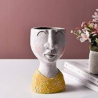モダンオーナメントスタチューヘッドプランター、レジンフラワーポット花瓶、フェイス花瓶ホームガーデン屋内屋外アートハウスのための装飾的な家族の芸術彫刻-小さな女の子