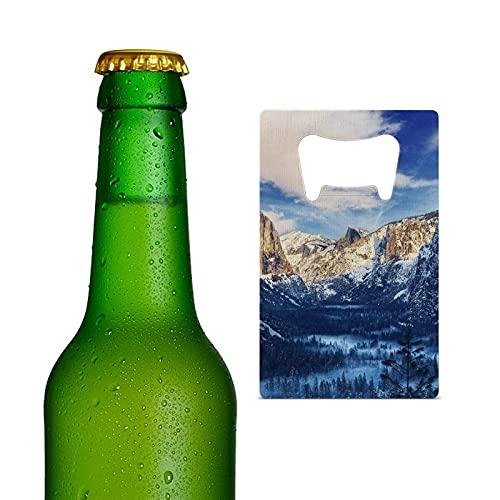 Abridor de botellas de cerveza de acero inoxidable resistente tamaño tarjeta de crédito portátil para cocina, bar, restaurante, boda, fiesta, Yosemite Sierra Nevada