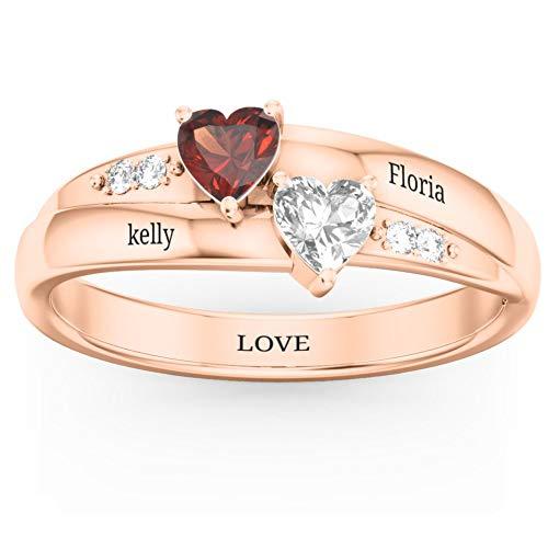 Ja&An Jewelry Sterling Silber personalisierte Ringe für Frauen, Verlobungsringe für Paare Custom Name Ringe Paare Ringe Versprechen Ringe für Ihr Jubiläum Birthstone Ringe Mütter Ring, Rose Gold
