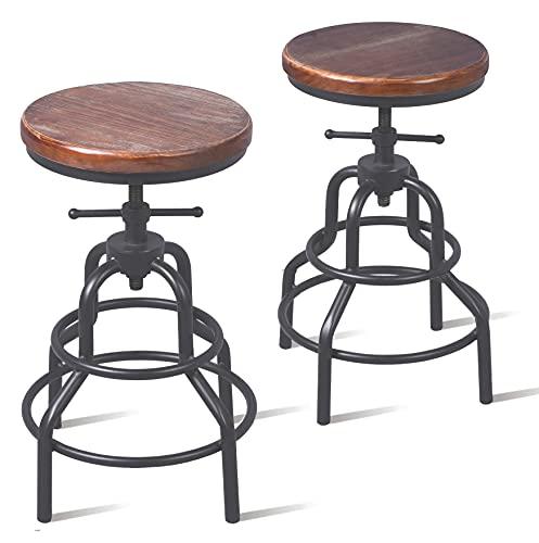 Topower - Sgabello da bar in stile industriale americano antico, in metallo, altezza regolabile, per...
