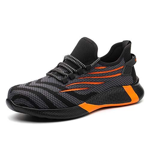 KTDYG Sicherheitsschuhe Herren Damen Arbeitsschuhe S3 Leicht Sportlich Schutzschuhe Stahlkappe Sneaker