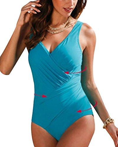 Mujer Bañador Tallas Grandes Traje de Baño de Una Pieza Cuello V Sin Respaldo Ropa de Baño Push-up One Piece Vestido Traje Baño