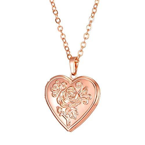 JIAJIA Halsketting met harthanger, goudkleurige fotobox, fotolijst voor sieraden, herinnering, romantische liefde, halsketting, cadeau voor meisjes