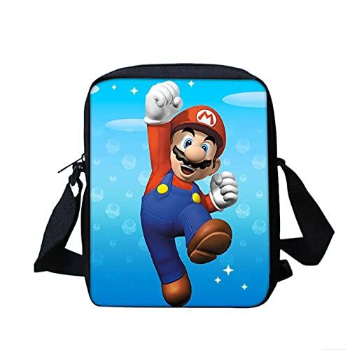 Bolso Mario Print Mini Messenger Bag Smash Bros Niños Niñas Bolsos Crossbody Niños Niños Bolsas Escuela Bolsas Niños Librero Pequeño Bolso de Hombro