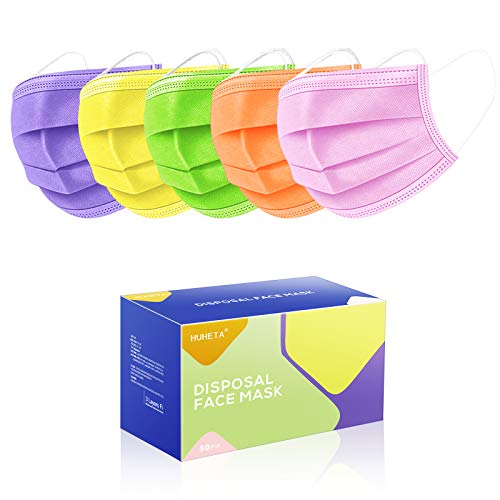 50 Pcs Disposable Face Masks 3-Ply Breathable & Comfortable Safety Mask, Protective Dust Masks for Indoor and Outdoor (Multicolored Mask)