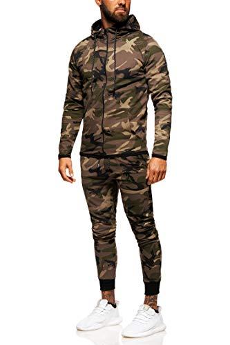 behype. Herren Camouflage Sportanzug Trainingsanzug Jogginganzug 70-0793 Khaki M