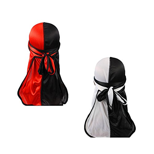 Hip-hop Rapper Two Tone Men Silky Durag Cap(2pcs) Long Tail Chemo 360 Waves Du-rag Hat (Red&White&Black)