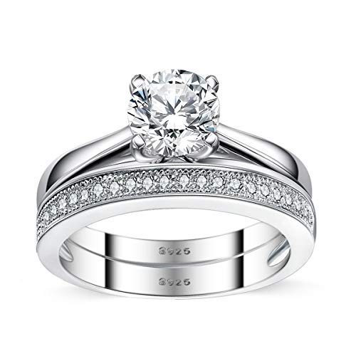 Sreema London Elegant 925 Sterling Silver Solitaire Women's Wedding Engagement Promise Ring Set Box Included (S)