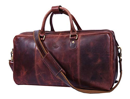 Leather Travel Duffle Bag | Gym Sports Bag Airplane Luggage Carry-On Bag (Walnut)