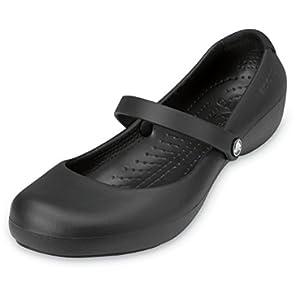 Crocs Women's Alice Flats   Slip Resistant Work Shoes Mary Jane, Black, 10