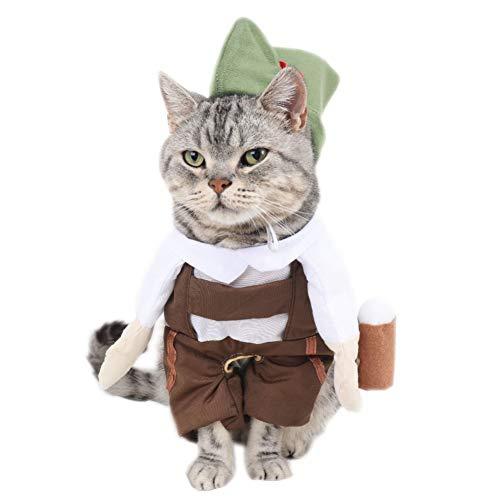 LCWYP Haustier Halloween Barkeeper Bier Kellner Katze Kostüm Mit Hut Cosplay Anzug Für Haustiere Lustige Katze Kleidung Halloween Kostüm Chat S-XL