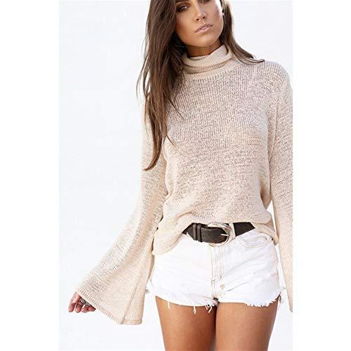 Vrouwen Button Sweater Truien en Horn mouwen coltrui Solid Cross Halter Knitwear Winter Hooded (Color : Khaki, Size : XL)