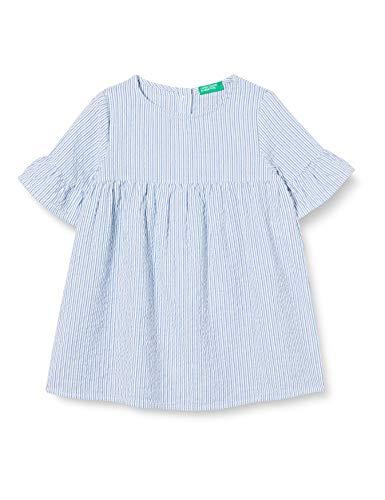 United Colors of Benetton Baby-Mädchen Vestito Kleid, Blau (Bianco/Blu 901), 86/92 (Herstellergröße: 2y)