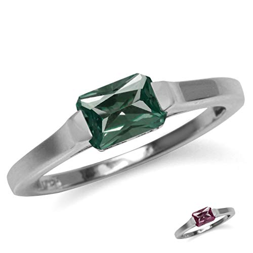 Silvershake Octagon Simulated Color Change Alexandrite White Gold Plated 925 Sterling Silver Solitaire Ring Size 7