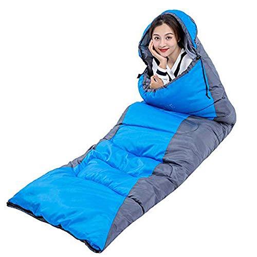 HAO XIAN SHENG Camping Schlafsack doppelt isoliert Leicht und wasserdicht für Erwachsene und Kinder Speed 4 Seasons für Wanderungen und Outdoor-Aktivitäten,Blue