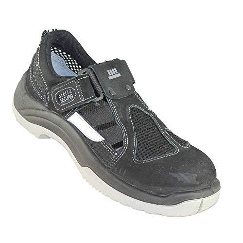 Steitz Secura SST 7 S1 SRC Weiße Sohle Sicherheitsschuhe Lagerschuhe Berufsschuhe Arbeitsschuhe Sandale Schwarz, Größe:40 EU