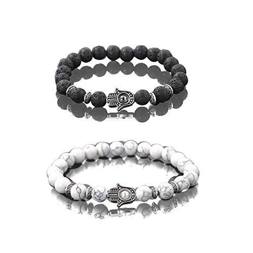 KIKILA 2Pcs Set Handmade Elastic 6mm Beads Hamsa Bracelet Natural Stone Evil Eye Hamsa Fatima Hand Charm Beaded Couples Bracelets Kabbalah Bracelet