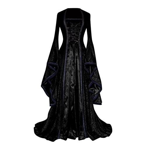 BIBOKAOKE Damen Mittelalterliche Kleid mit Trompetenärmel Mittelalter Party Kostüm Maxikleid Lange Ärmel Renaissance-Kleid Halloween Cosplay...