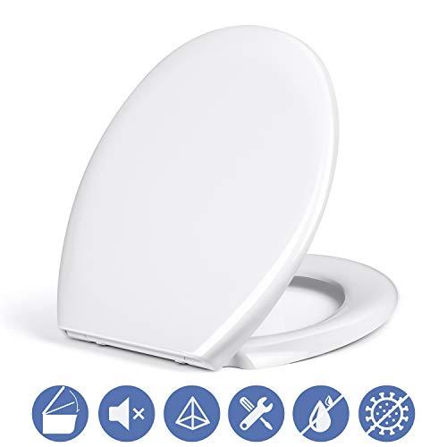Amzdeal Premium Toilettendeckel Absenkautomatik Oval Weiß, Quick Release WC Sitz, Soft Close Klodeckel, Klobrille aus Duroplast, Befestigung von Oben/Klassisch (Größe: 451*376*53mm)