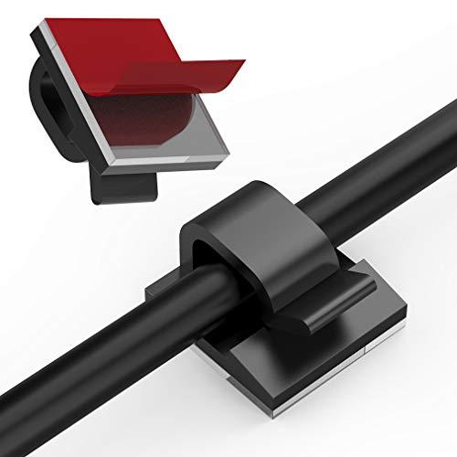 60 Stück Kabelclips für den Innen Außenbereich mit Klebebändern Kabelmanagement Dekorationsclips Selbstklebende Haken Drahthalter für Weihnachten Lichterketten USB Ladekabel (Schwarz)