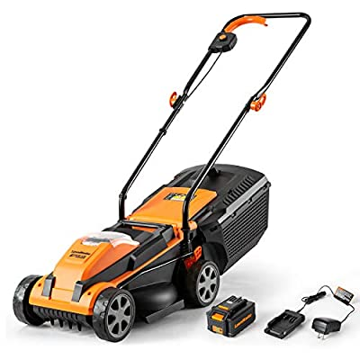 LawnMaster CLM2413A Cordless Lawn Mower 24V Lithium-Ion,13-Inch,4.0Ah Battery & Charger Included