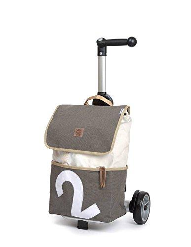 Unus Mole Sailing Shopper, 360 graden, wit zeil en grijze persenning, cijfer 2 - Shopper Unus® de chique trolley voor mobiele en milieubewuste mensen.