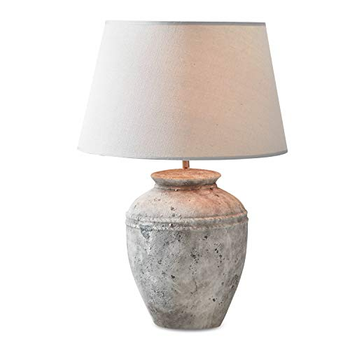 Loberon Tischlampe Mosnay, Leinen, Keramik, Eisen, H/Ø 58/24 cm, grau, max. 60 Watt, A++ bis E