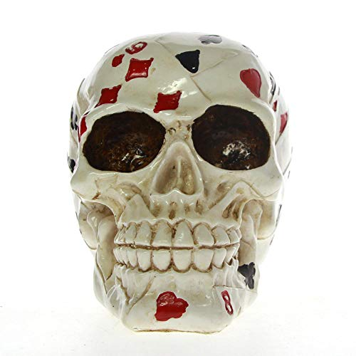 DQQQ Poker Face Tattoo Skull Gambling Skeleton Ace CardsHorror Decoration Skull Gambler Playing Cards Figurine Statue