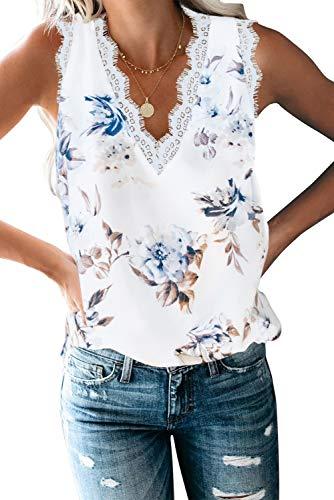 Uusollecy Damen Casual Oberteile Blusen V-Ausschnitt Ärmellos Spitze Unterhemd Shirt Sommer Tank Tops
