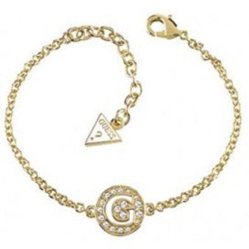 Guess–Pulsera GUESS G Girl de metal dorado con logo y brillantes–Metal Dorado–16cm agrandir a 20cm)