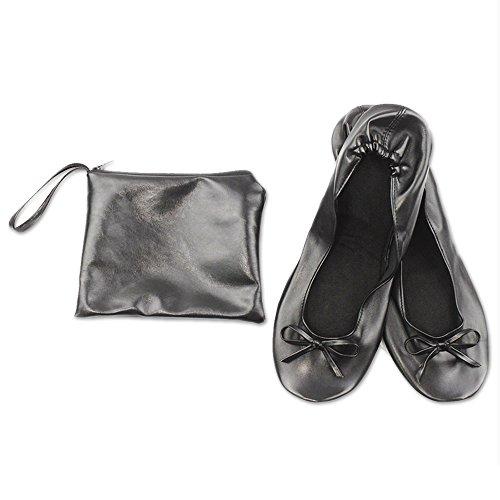 JJOnlineStore - Pieghevole After Shoes con Borsa per Trasporto, Misura 39, Pelle Sintetica (Nero)
