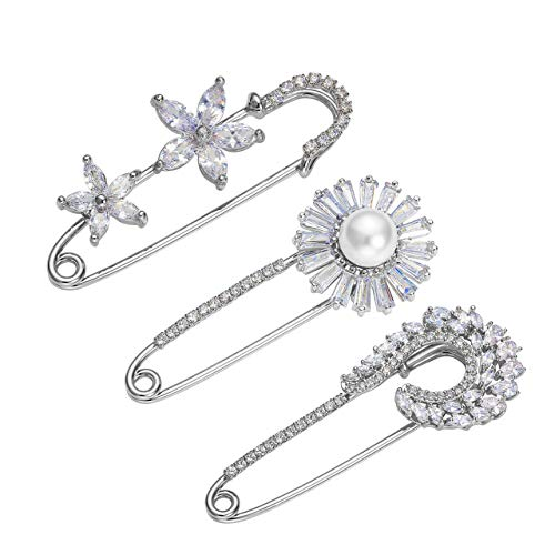 Jovivi 3pcs Clear Cubic Zirconia Crystal Floral Feather Safety Pin Brooches Suit Sweater Scarves Scarf Brooch Charm