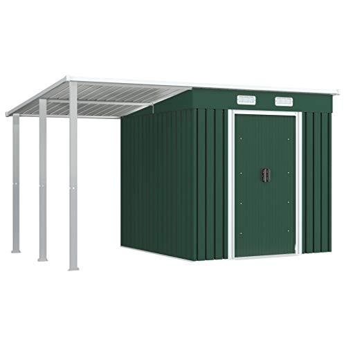 Irfora Gartenhaus mit Vordach, Geräteschuppen Garten, Mit Lüftungsklappen, Mit Schiebetüren, Grün 335x193x184 cm Stahl