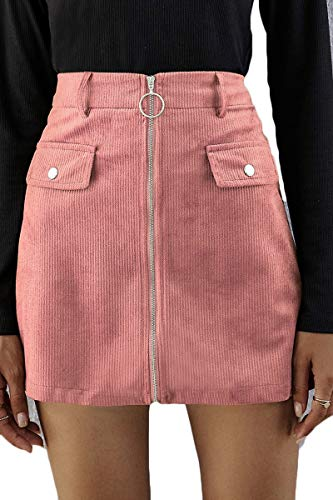 LEISUP Womens Plus Size Mini Skirt for Party Club High Waist Zip Front A-line Cord Skirt,XL Pink