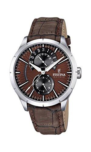 Festina Herren-Armbanduhr XL Analog Quarz Leder F16573/6