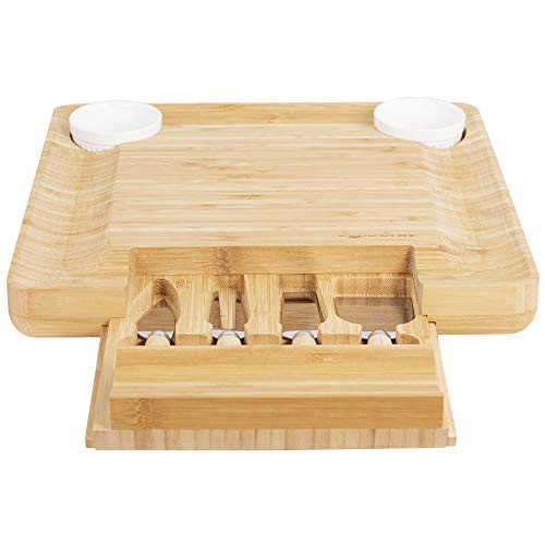 *Natural Bamboo Cheese Board & Charcuterie Platter with Two Ramekans for Dips and Hidden Drawer for Cutlery Set – Perfect Cheese Platter for Birthday Gifts, Wedding, Housewarming Gift, Mom*