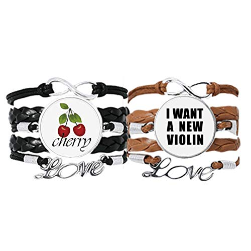 Bestchong I Want A New Violin Art Deco Gift Fashion Bracelet Hand Strap Leather Rope Cherry Love Wristband Double Set