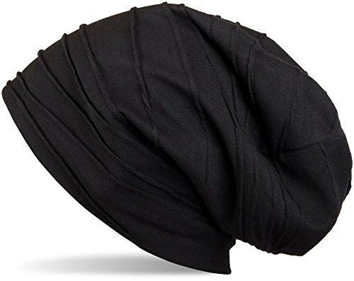 styleBREAKER klassische Beanie Mütze mit Falten Muster, Longbeanie, Unisex 04024053, Farbe:Schwarz (One Size)