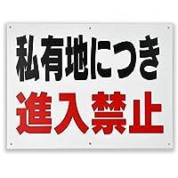 「私有地につき 進入禁止」 注意 パネル看板 幅40cm×高さ30cm 進入禁止看板