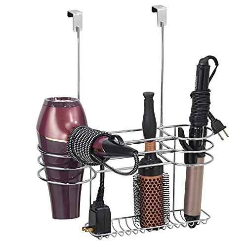mDesign Porta phon da appendere – Organizer bagno perfetto per phon, piastra e accessori – Porta asciugacapelli da agganciare alla porta – argento