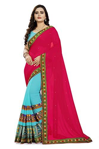 VintFlea Indian Women's Georgette Saree with Unstitched Blouse Piece Pink