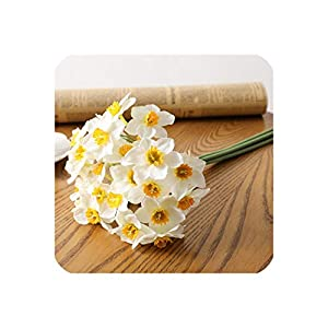 Perfect-display 6pcs/a lot Artificial Plastic Silk Artificial Daffodils Flower Narcissus Stem Plant Home Table Wedding Party Decor,White