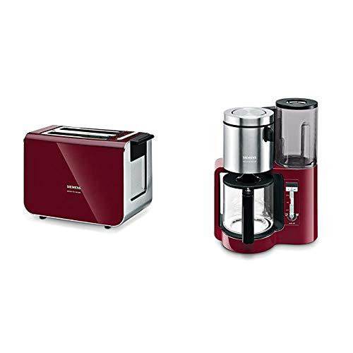 Siemens TT86104 Toaster / 860 Watt / für 2 Scheiben / wärmeisoliertes Gehäuse / cranberry red & TC86304 Kaffeemaschine, 1160 Watt, 10-15 Tassen, cranberry red