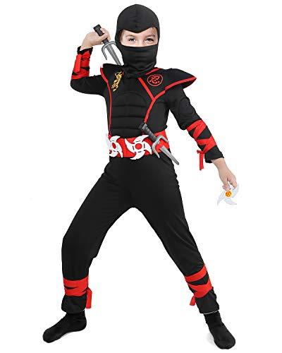 Il costume ninja nero rosso potere. Include: tutine con petto muscolare, cappelli, maschere, cinture, doppi coltelli, freccette, guanti. Dimensioni: disponibile in misura piccola, adatta per ragazzi e ragazze. Sicurezza: il coltello è in plastica mor...