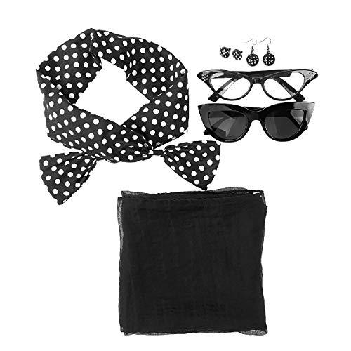 Kaerm 50's Damen Kostümsets 1950s Kostüm Zubehör Cosplay Party Accessoires Set Polka Dot Stirnband Katzenauge Gläser Perlenohrringe 50s Ohrringe usw. Schwarz A One Size