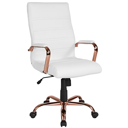 Flash Furniture High Back White LeatherSoft Executive Swivel Office Chair with Rose Gold Frame and Arms