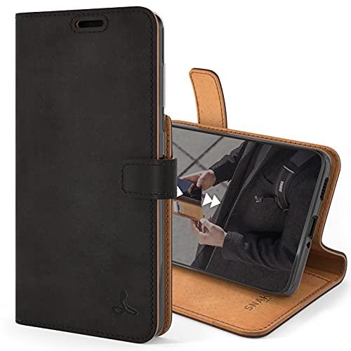 Snakehive Samsung Galaxy S21 Schutzhülle/Klapphülle echt Lederhülle mit Standfunktion, Handmade in Europa für Samsung Galaxy S21 (Schwarz)