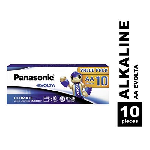 Panasonic Evolta Alkaline Batterie, AA Mignon LR6, 10er Pack in plastikfreier Verpackung, 1.5V, Premium-Batterie mit besonders langanhaltender Energie, Alkali-Batterie