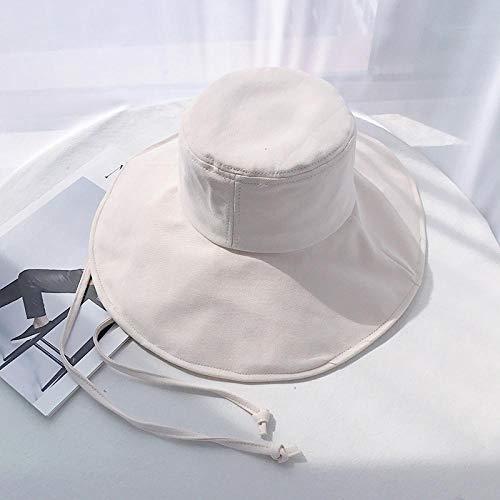 Bucket Hat Chapeau Solide Grandes Eaves Pare-Soleil Chapeau De Soleil Femmes en Plein Air Protection UV Chapeau De Protection Solaire Respirant Joker Plage Ceinture Bonnet 56-58 Cm Cordedeavesbei