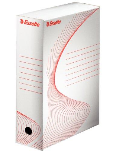 ESSELTE BOXY 100 scatola archivio - dim. 25 x 35 x 10 cm - Bianco/Rosso - 20172